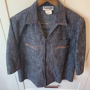 Vintage 1970's Style Faux Denim Zip Up Top